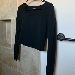 L Black Cropped Squared Long Sleeve